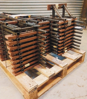 Stack of MRW track on pallet