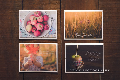 Set of 8 Fall-Themed Flat Notecards w/ Envelopes