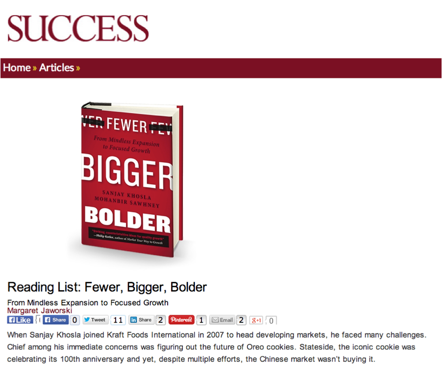 Fewer, Bigger, Bolder