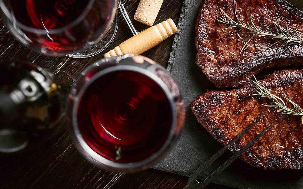 Vino olio e bistecca