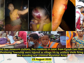 Residents from Kyauk-Yan-Thar-Si village were injured by artillery shells firing from Myanmar Army