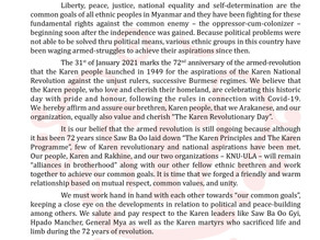 """""""Letter of Felicitation from (ULA)on the 72nd Anniversary of Karan Revolution Day"""""""