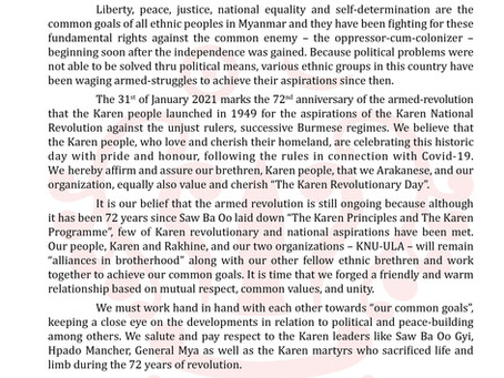 """Letter of Felicitation from (ULA)on the 72nd Anniversary of Karan Revolution Day"""