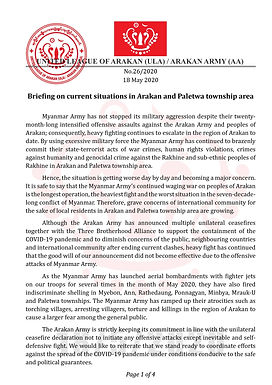 Briefing on current situations in Arakan and Paletwa township area