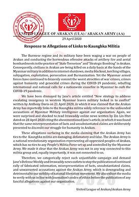 Response to Allegations of Links to Kaunghka Milita