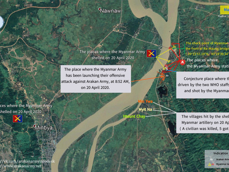 Two staffs of the WHO shot by the Checkpoint of the Myanmar Army at the front of Ra-Maung bridge
