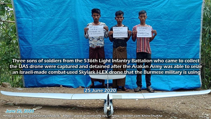 Three sons of soldiers from Myanmar Army, came to collect the UAS drone were Captured by Arakan Army