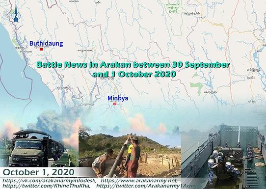 Battle News in Arakan between 30 September and 1 October 2020