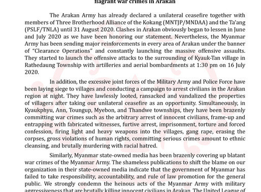 Statement on the strong condemnation of the barbaric acts of Myanmar Army