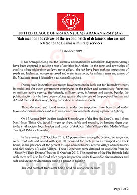 Statement on the release of the batch of detainees who are not related tothe Burmesemilitaryservices