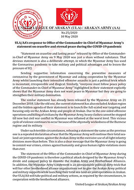 ULA/AA's response to Myanmar Army's statement on ceasefire and eternal peace during the COVID-19