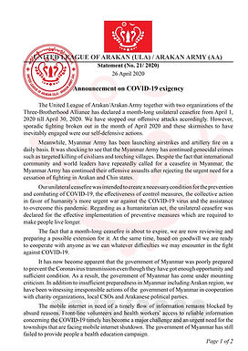 Announcement on COVID-10 exigency