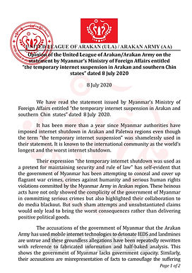 Opinion of the ULA/AA on the statement by Myanmar's Ministry of Foreign Affairs