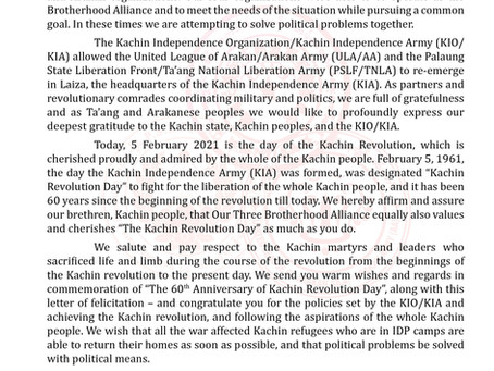 "Felicitation Letter on "" the 60th Anniversary of Revolution Day"" of Kachin Independence Army"