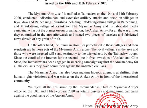Statement rejecting the untruth by the commander in chief,myanmar army,issued