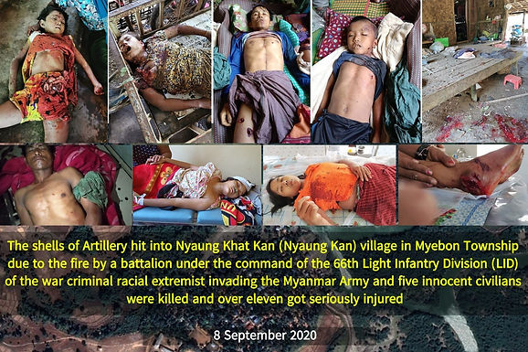 An innocent young school teacher in a paddy field was killed by heavy artillery fire of Myanmar Army