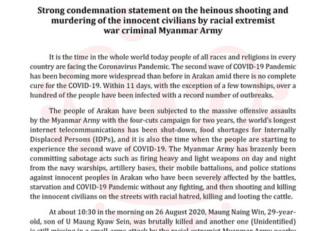 Strong condemnation statement on the heinous shooting and murdering of the innocent civilians