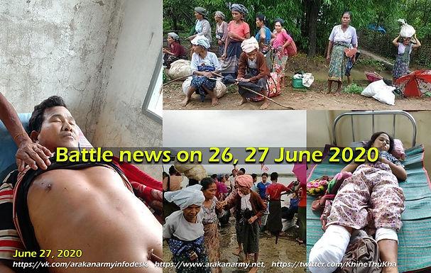 Battle news of Arakan on 26, 27 June 2020