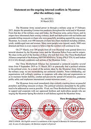Statement on the ongoing internal conflicts in Myanmar after the military coup