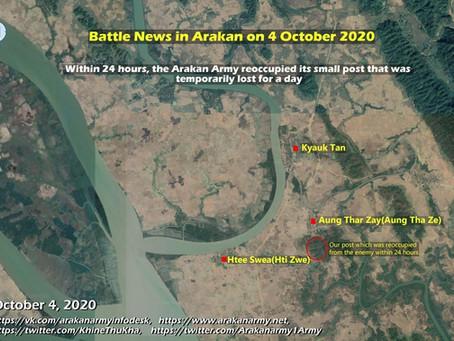 Battle news in Arakan on 4 October 2020