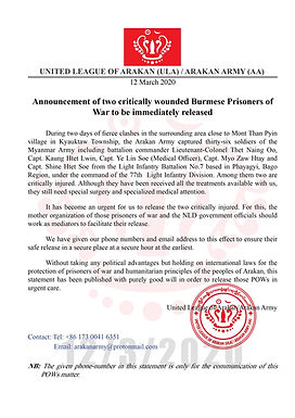 Announcement of two critically wounded Burmese Prisoners of War to be immediately released