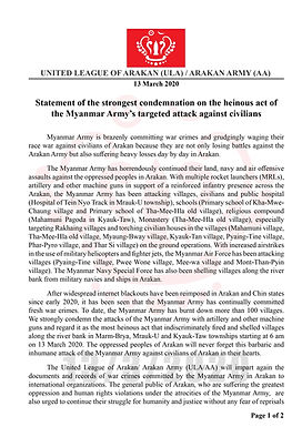 statement of the strongest condemnation on the henious act of the myanmar Army