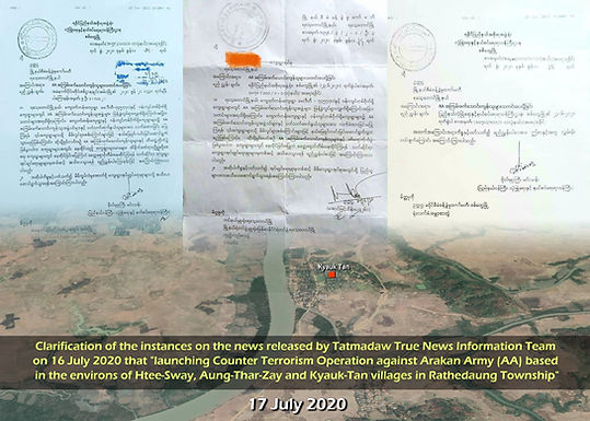 Clarification of the instances on the news released by Tatmadaw True News Information Team on16 July