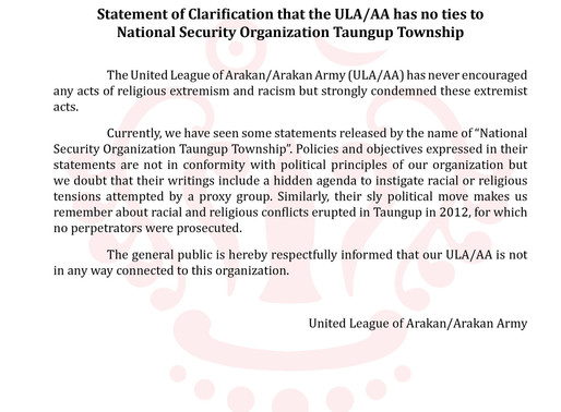 Statement of Clarification that the ULA/AA has no ties to (National Security Organization) Taungup