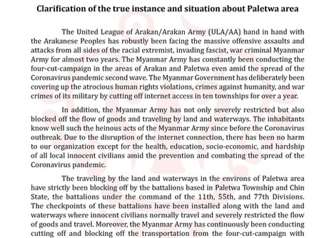 Clarification of the true instance and situation about Paletwa area