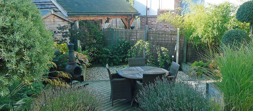 Small terraced country garden
