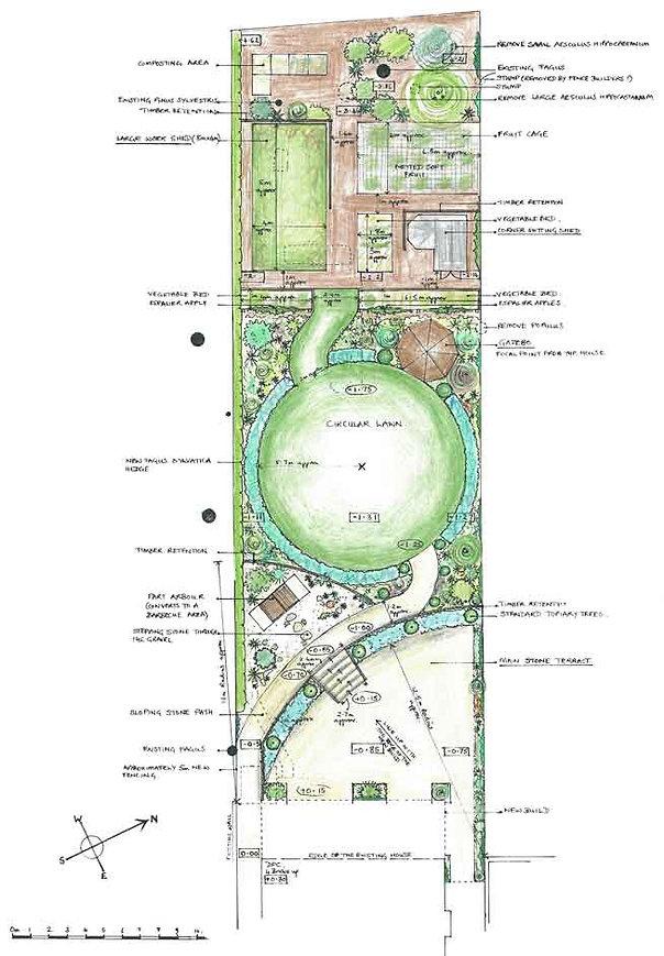 Large sloping town garden