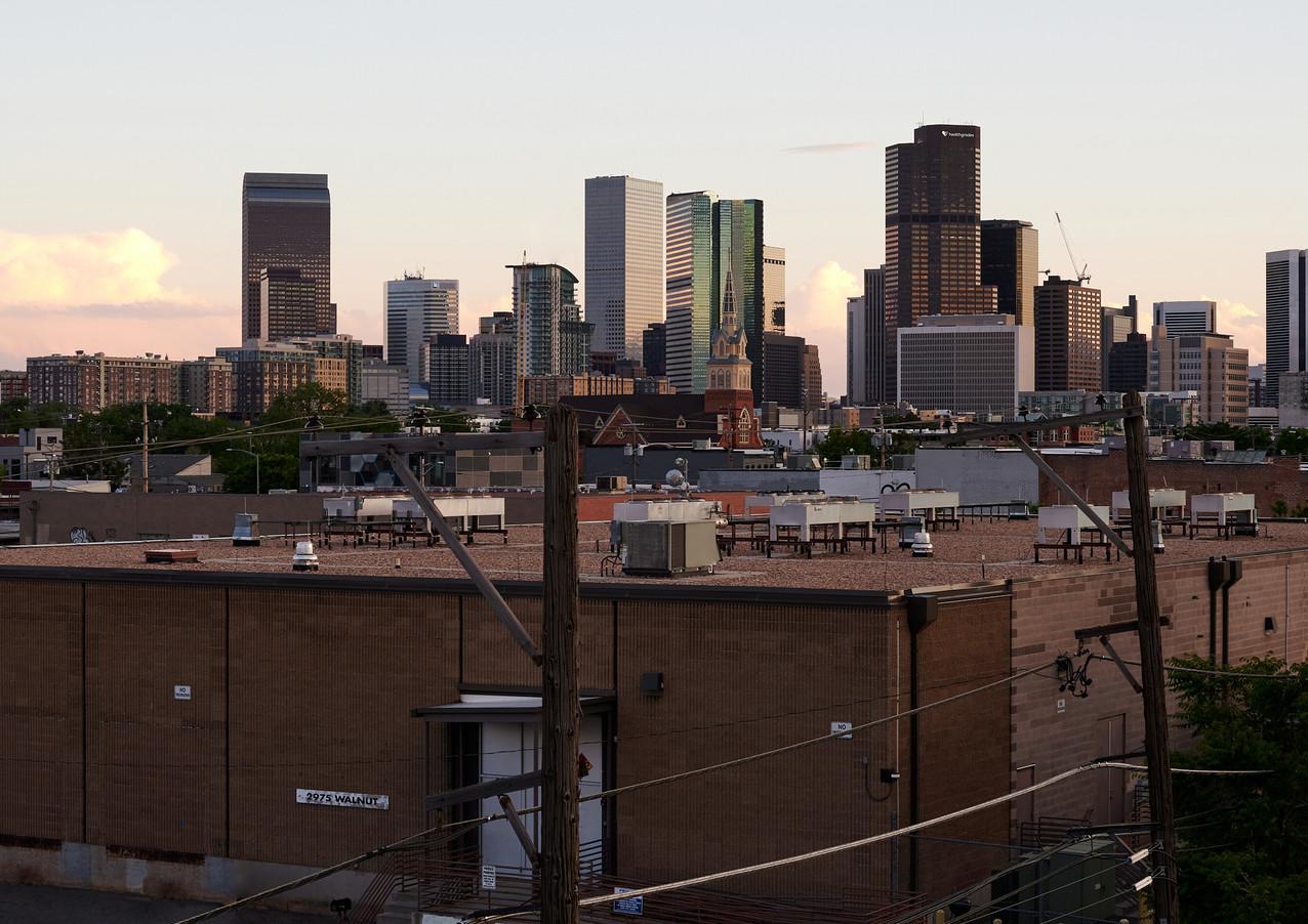 rooftop view of Denver skyline