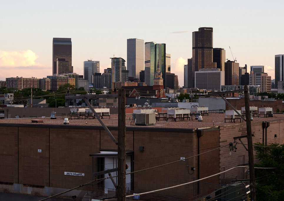 rooftop view of Denver skyline