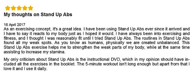 Reviews on Stand Up Abs