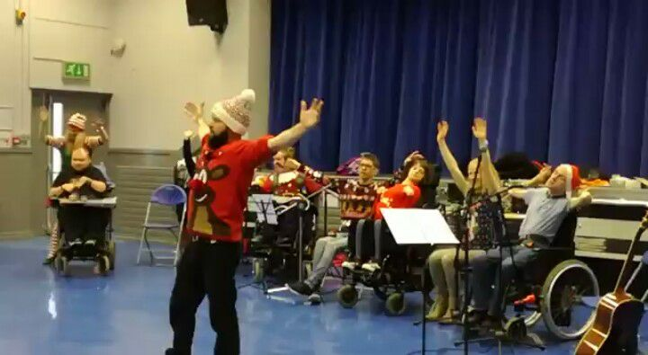 Christmas celebration with the full circle music group at Capability Scotland.