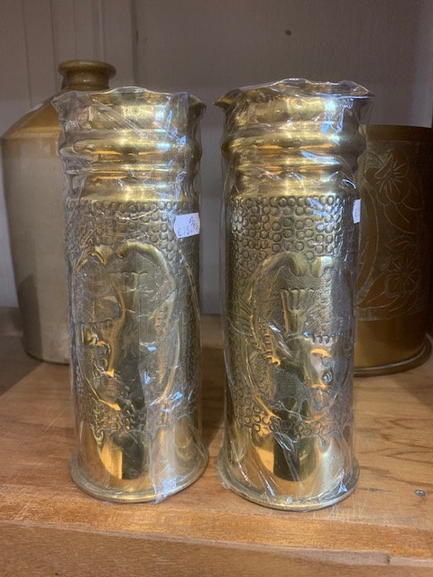 1914/1915 77mm Artillery trench art shell casings pair.