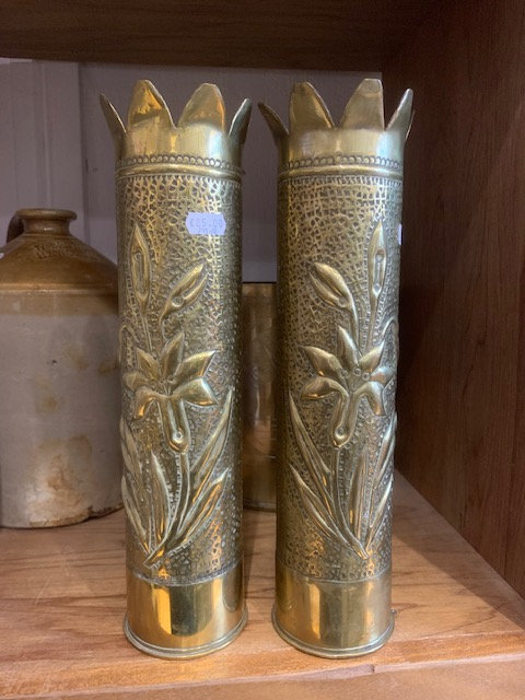 1914 & 1916 French 75mm trench art shell casing pair