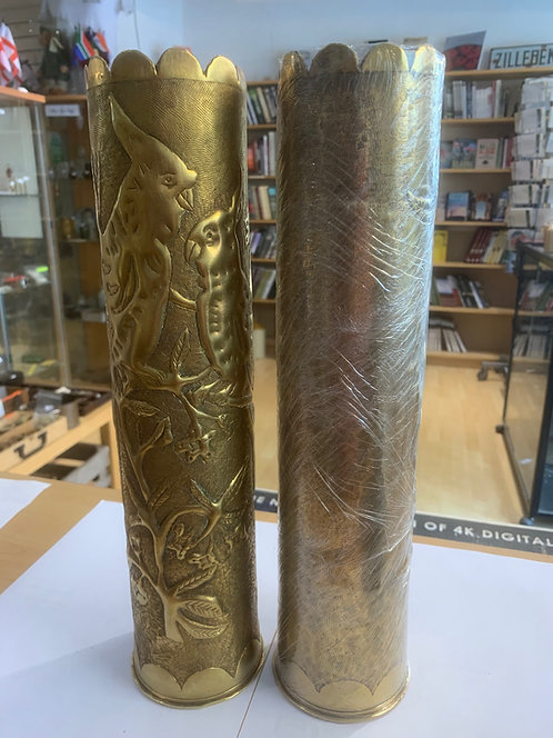 Pair of French 75mm Trench Art brass shell casings