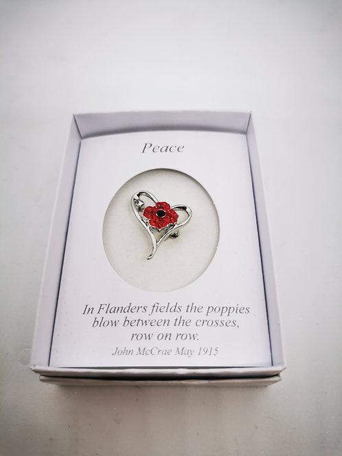Poppy Brooch four Petal in Heart
