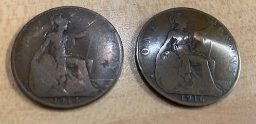 1914 & 1916 English pennies. One damaged
