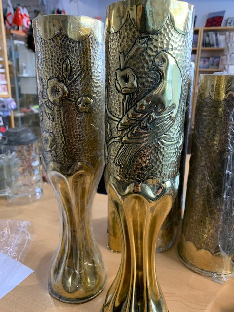 Pair of French 75mm trench art shell casings.