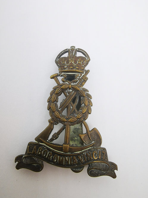 WW1 Royal Pioneer Corps OFFICER'S Cap Badge Labor Omnia Vincit Slider