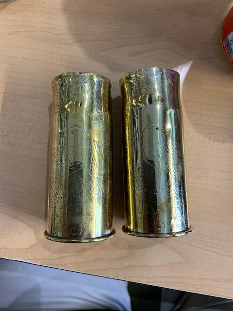 Pair of Trench art shell casings 37.85mm