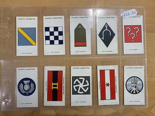 50 x Players Cigarettte cards British Army Divisional Signs 1914-18