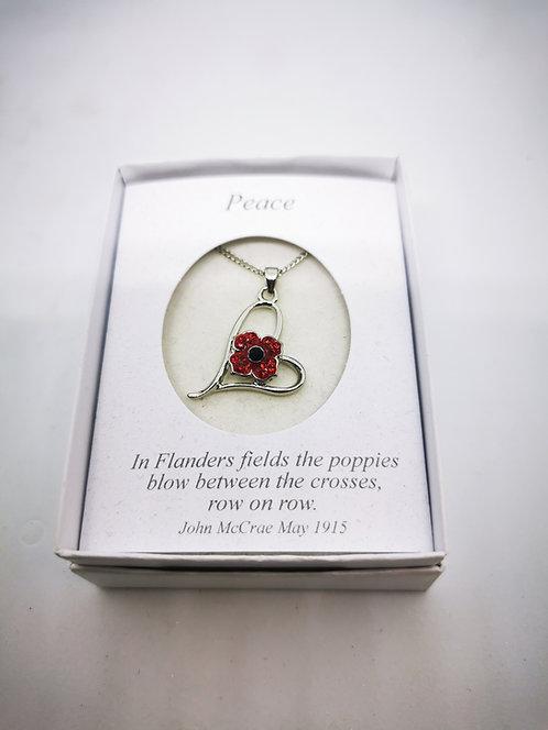 Poppy Pendant 4 petal in Heart