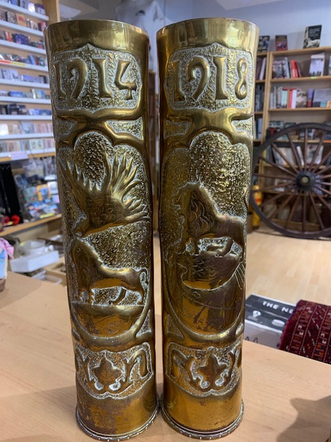 Pair French 75mm trench art shells 1918