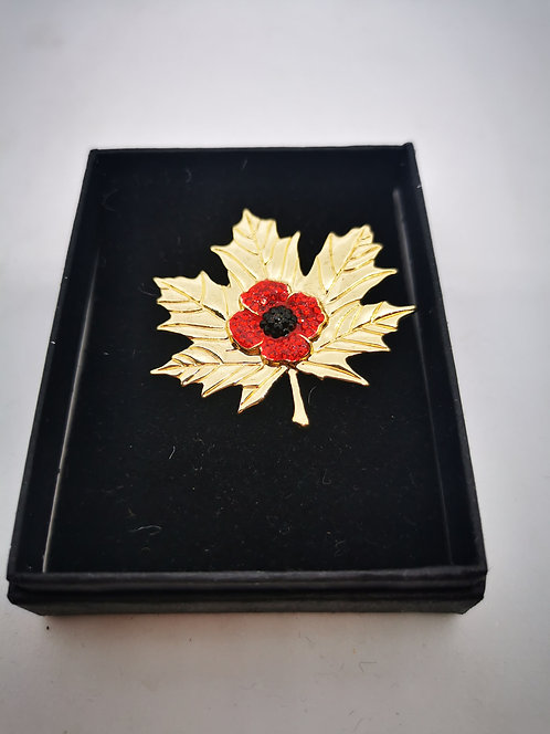 Maple Leaf gold colour Brooch