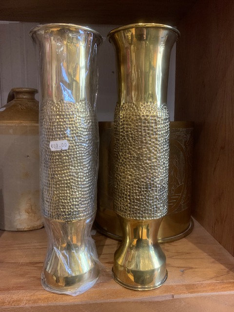 Pair French 75mm trench art shell casings