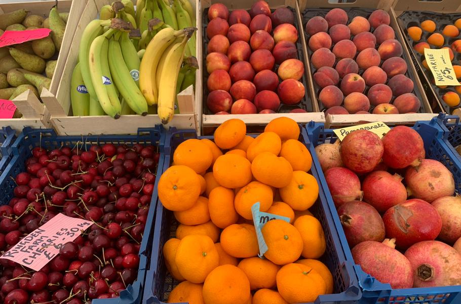 A wide aray of fruit