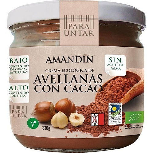 CREMA D'AVELLANES AMB CACAU ECO AMANDIN 330G
